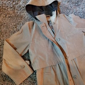 Womens full length soft touch trench coat w hood M